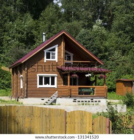 Wooden dacha in Russia - stock photo