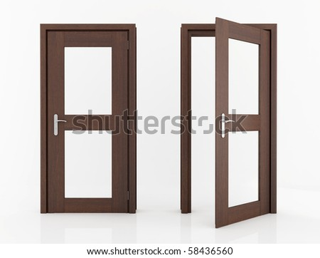 wooden dark wood with glass isolated on white - rendering