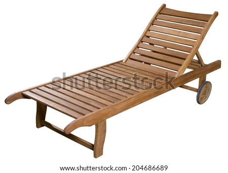 Wooden Deck Chair On Wheels Isolated On White With Clipping Path