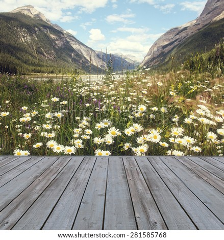 Wooden deck overlooking scenic view of mountains and flowers - stock photo