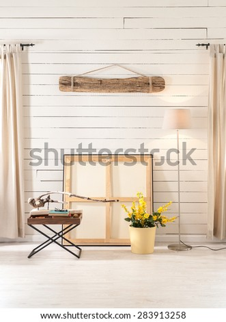 wooden decor interior, artist workshop - stock photo