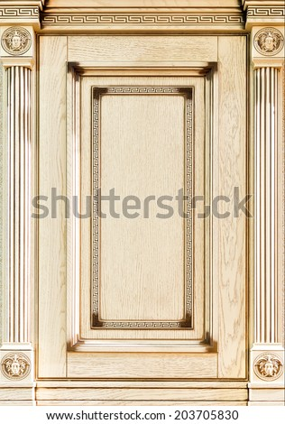 Wooden decorated facade of furniture