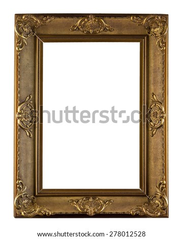 wooden decorative frame for painting isolated on white