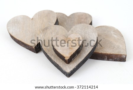 Wooden decorative hearts