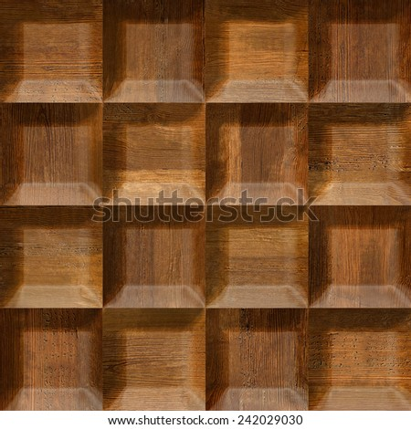 Wooden decorative tiles - cassette floor - seamless background - Interior wall panel pattern - Wooden tiles - wood wall - wood veneer - wooden surface - wood panels - Decorative wooden pattern - stock photo
