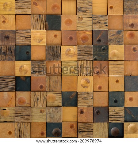 Wooden decorative wall in close up