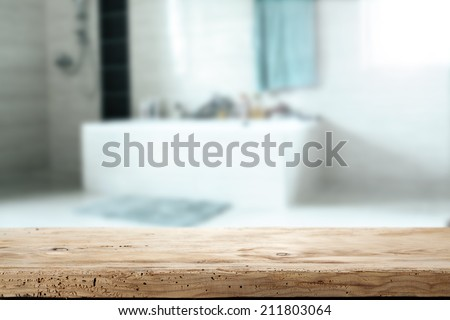wooden desk and bathroom  - stock photo