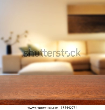 wooden desk and salon  - stock photo