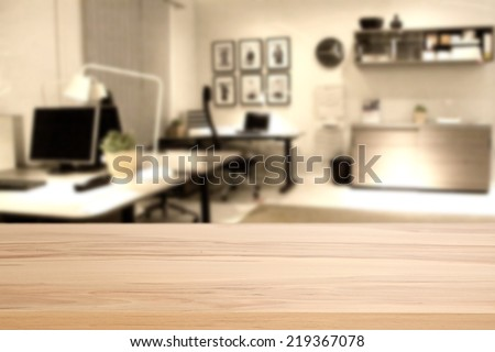 wooden desk of office  - stock photo