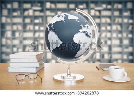 Wooden desktop with globe, coffee, books and glasses on library background. 3D Render - stock photo