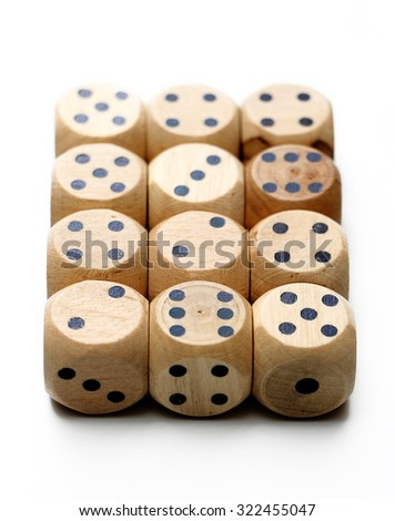 Wooden Dice on a White Background