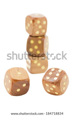 Wooden dices, shallow DOF - stock photo