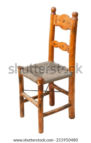 Wooden dining chair rustic style isolated on white background - stock photo