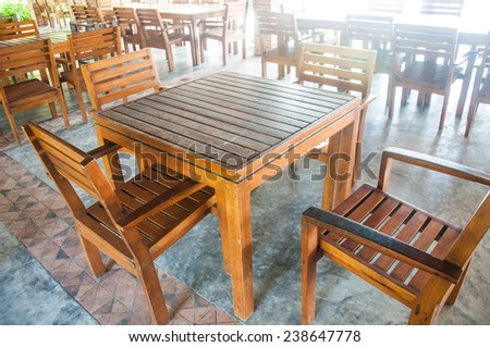 Wooden Dining Table Set - stock photo