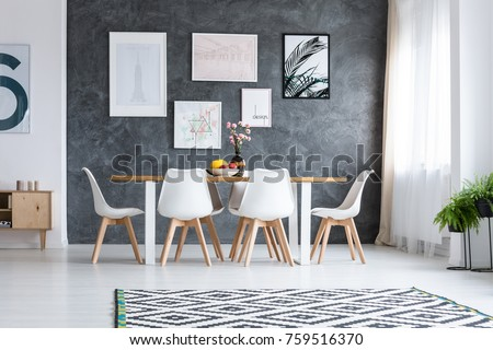Wooden Dining Table White Design Chairs Stock Photo Royalty Free
