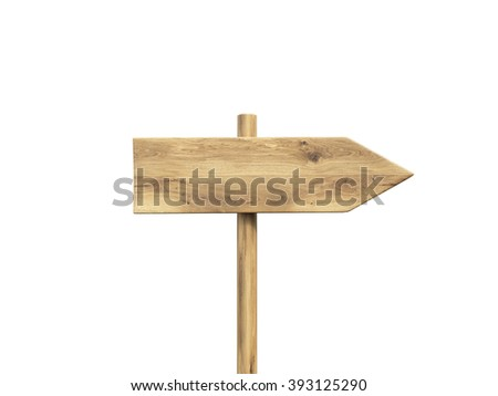 Wooden direction sign. Isolated. Concept of information. Mock up. 3D render - stock photo