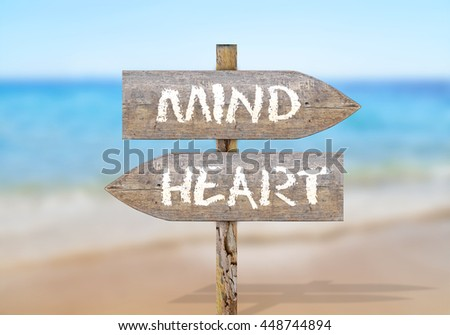 Wooden direction sign with mind and heart - stock photo