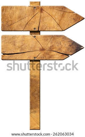 Wooden Directional Sign - Two Arrows. Wooden directional sign with two empty arrows in the same direction isolated on white background.  - stock photo