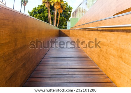 Wooden disabled ramp. - stock photo