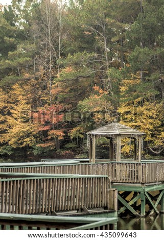 Wooden Dock and Gazebo with Fall Colors / Wooden Dock and Gazebo with Fall Colors / Wooden Dock and Gazebo with Fall Colors /