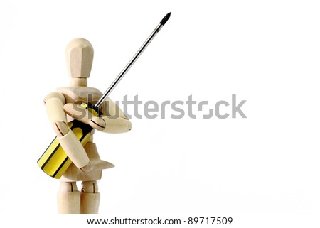 Wooden doll holding philip screw driver suitable for DIY concept / hardware store / repair / carpentry  isolated on white - stock photo