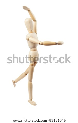 Wooden doll on the white background.