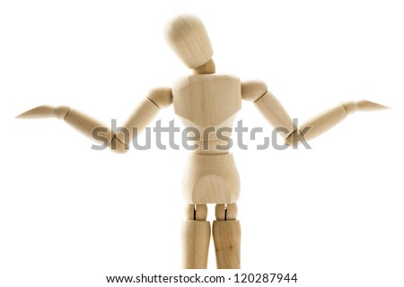 Wooden doll posing trouble on white background