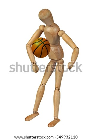 Wooden doll with basketball