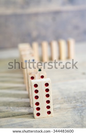 Wooden domino game - stock photo