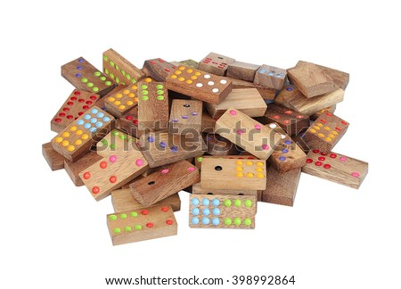 Wooden dominoes isolated - stock photo