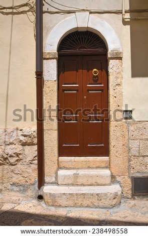 Wooden door. Altamura. Puglia. Italy. - stock photo