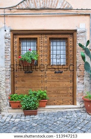Wooden door. Civita Castellana. Lazio. Italy.