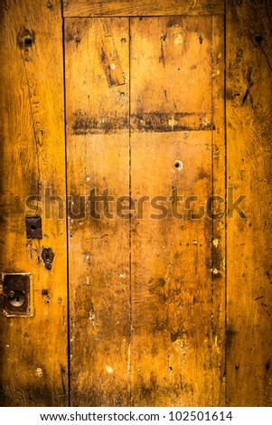 wooden door grunge textures and backgrounds - stock photo
