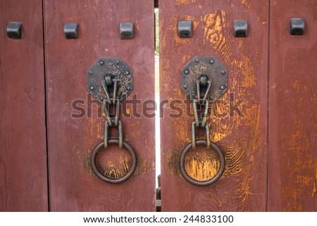 wooden door korean style - stock photo