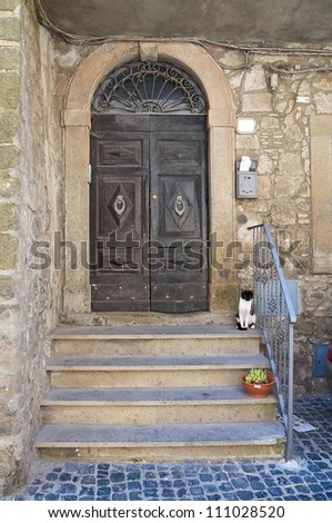 Wooden door. Montefiascone. Lazio. Italy. - stock photo