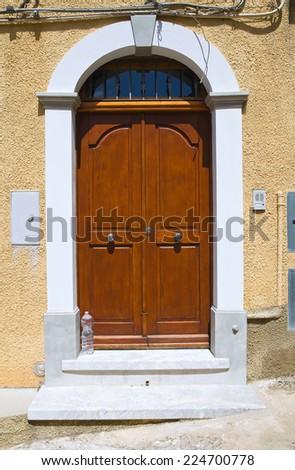 Wooden door. Morano Calabro. Calabria. Italy. - stock photo