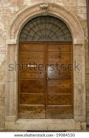 wooden door of an ancient house
