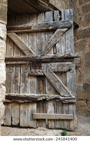 Wooden door of old fortress in Famagusta, North Cyprus                                - stock photo