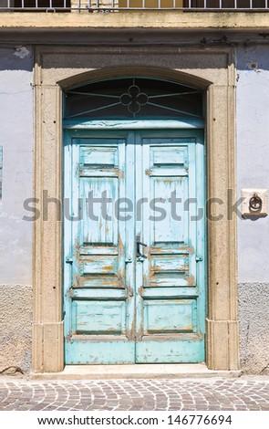 Wooden door. Roseto Valfortore. Puglia. Italy. - stock photo