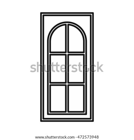 Wooden door with glass icon in outline style isolated  illustration