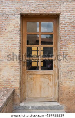 Wooden Door Glass On Stone Brick Stock Photo Image Royalty Free