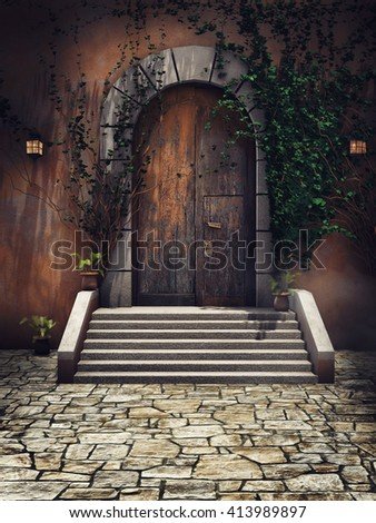 Wooden door with ivy and lamps in the castle courtyard. 3D illustration.