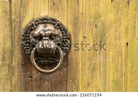 Wooden door with lion handle