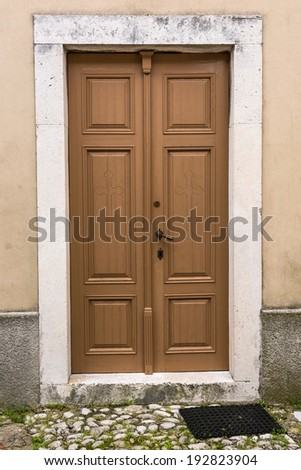 Wooden door with stone frame, Moscenice, Istra, Croatia