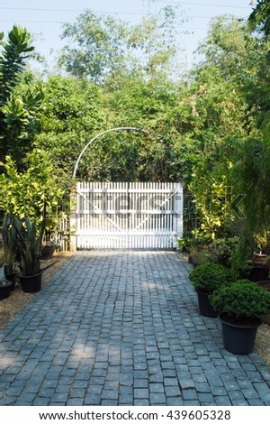 Black Modern Gate Green Garden Stock Photo 158743241