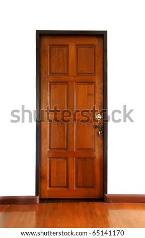 Wooden doors locked - stock photo