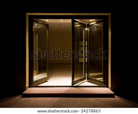 Wooden doors-windows with separate lighting - stock photo