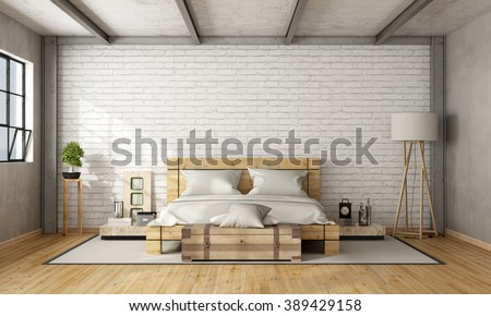 Wooden double bed in loft with brick wall and iron beams - 3D Rendering - stock photo