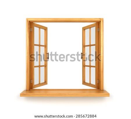 Wooden double window opened isolated on white background - stock photo
