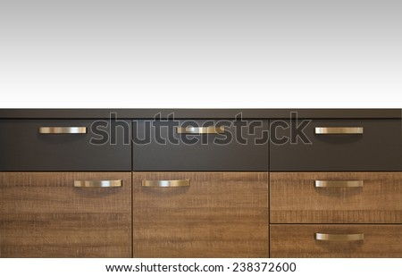 wooden drawer cabinets close up isolated - stock photo